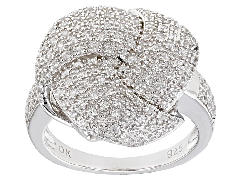"Photo of .89ctw Round White Zircon Rhodium Over Sterling Silver ""Love Knot Infinity"" Ring - Size 8"