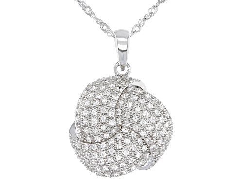 """Photo of .77ctw Round White Zircon Rhodium Over Silver """"Love Knot Infinity"""" Pendant With Chain"""