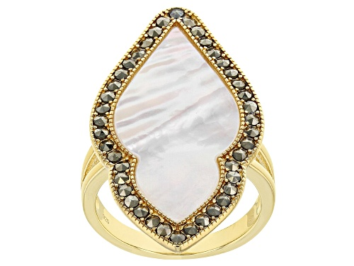 Photo of 28x13MM WHITE MOTHER OF PEARL WITH MARCASITE 18K YELLOW GOLD OVER SILVER RING - Size 6