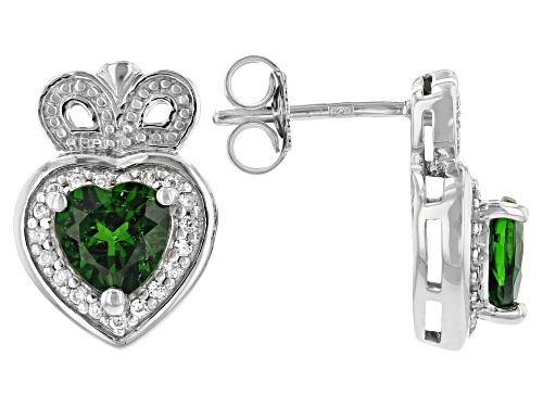 Photo of 1.30ctw Russian Chrome Diopside with .30ctw White Zircon Rhodium Over Silver Claddagh Earrings