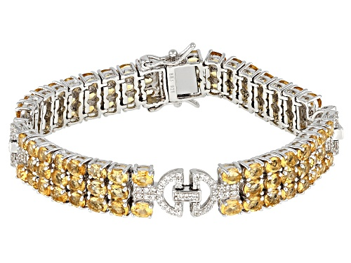 Photo of 14.88ctw round citrine with 0.93ctw round white zircon rhodium over sterling silver bracelet - Size 8