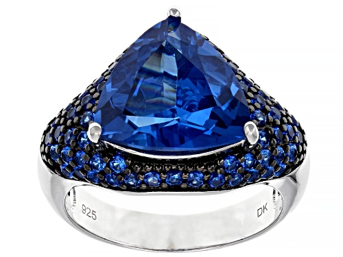 Photo of 5.51ctw Trillion and 0.94ctw Round Lab Created Blue Spinel Rhodium Over Silver Ring - Size 8