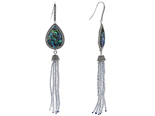 Photo of 23x16mm Abalone Shell with Beaded Labradorite Rhodium Over Sterling Silver Tassel Earrings