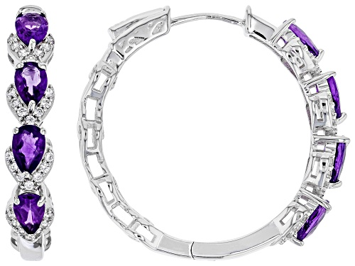 Photo of 2.58ctw Pear Shape African Amethyst and .65ctw Round White Zircon Rhodium Over Silver Hoop Earrings