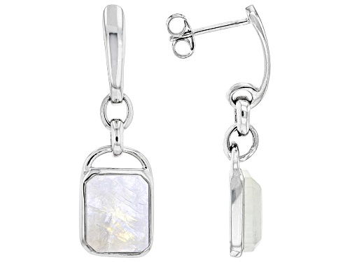 Photo of 10x8mm Rectangular Octagonal Rainbow Moonstone Rhodium Over Sterling Silver Earrings