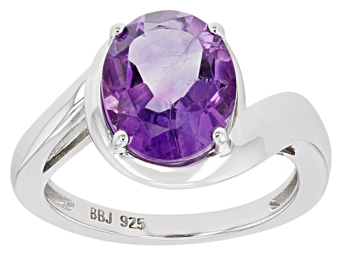 Photo of 2.72ct Oval Purple Amethyst Rhodium over Sterling Silver Solitaire Ring - Size 8
