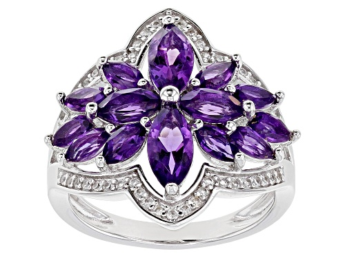 Photo of 2.27ctw African Amethyst with .32ctw White Zircon Rhodium Over Sterling Silver Ring - Size 7