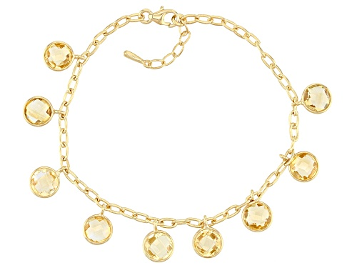 Photo of 11.47ctw Round Checker Board Yellow Citrine 18K Yellow Gold Over Sterling Silver Bracelet - Size 7.25