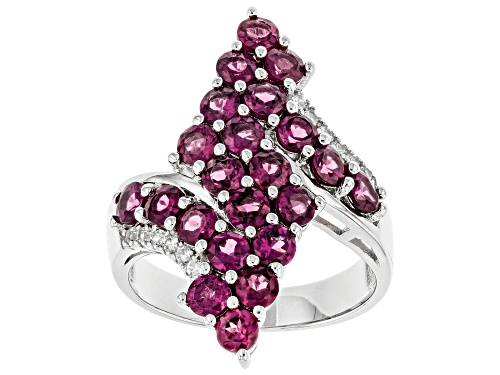 Photo of 2.81ctw Round Raspberry Color Rhodolite and 0.16ctw Zircon Rhodium Over Silver Ring - Size 10