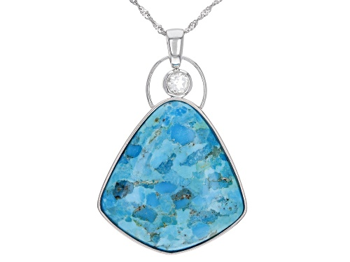 Photo of 35x33mm Free-Form Turquoise with.62ct Round White Topaz Rhodium Over Silver Pendant With Chain