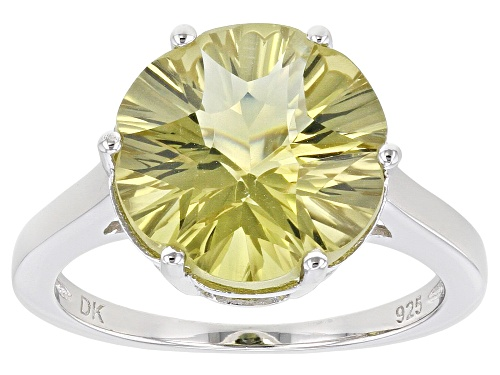 Photo of 4.51ct Flower Shape Canary Quartz Rhodium Over Sterling Silver Solitaire Ring - Size 7