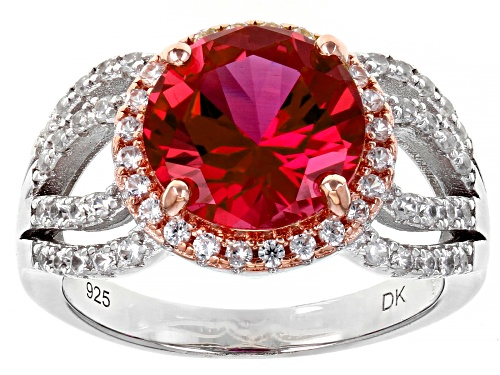 Photo of 4.18ct Round Lab Created Padparadscha Sapphire and Zircon Rhodium & 18k Gold Over Silver Ring - Size 7