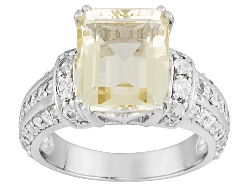 Photo of 3.83ct Emerald Cut Yellow Labradorite With 1.32ctw Round White Zircon Sterling Silver Ring - Size 11