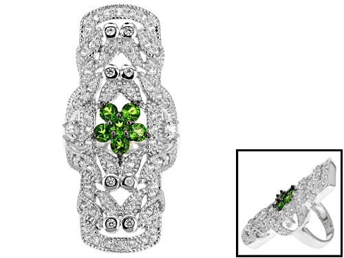 Photo of .74ctw Round Russian Chrome Diopside With 1.15ctw Round White Zircon Sterling Silver Ring - Size 5