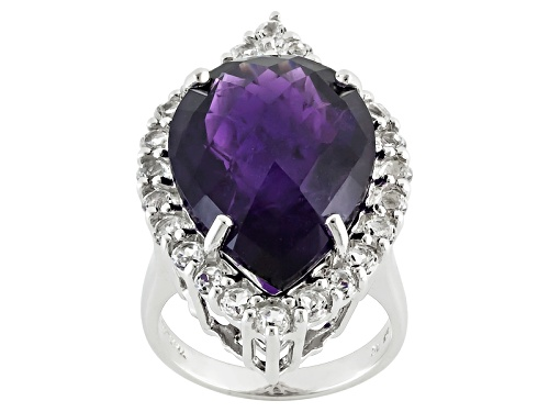 Photo of 12.99ct Pear Shape, Checkerboard Cut African Amethyst With 2.12ctw Round White Topaz Silver Ring - Size 4