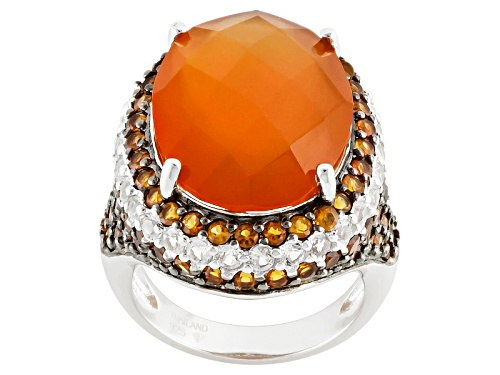 Photo of Oval, Checkerboard Cut Carnelian, .69ctw Round White Topaz And 1.61ctw Madeira Citrine Silver Ring - Size 5