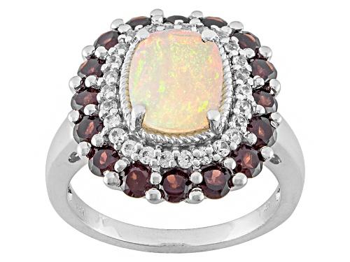 Photo of 1.20ctw Ethiopian Opal, 1.16ctw Vermelho Garnet™, .21ctw White Zircon Sterling Silver Ring - Size 5