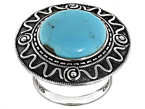 Photo of Aztec Style™ 16mm Round Cabochon Campitos Turquoise Sterling Silver Solitaire Ring - Size 5