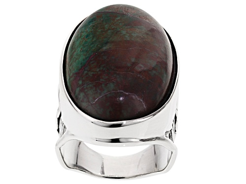 Photo of Aztec Style™ 30x18mm Oval Cabochon Sonora Sunrise  Sterling Silver Solitare Ring - Size 5