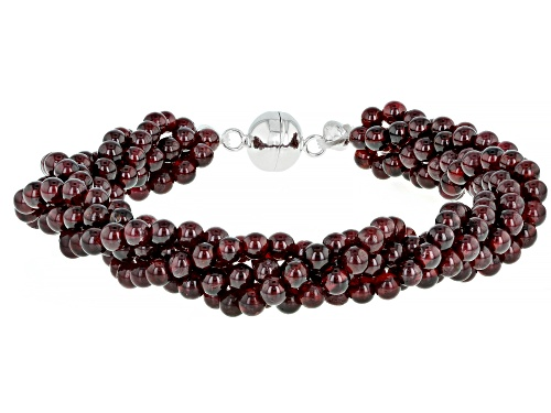 Photo of 135.00ctw 4mm Round Red Garnet Bead Sterling Silver 5-Strand Torsade Bracelet - Size 7.5