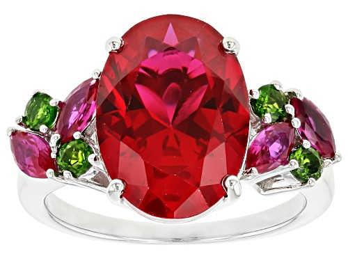 Photo of 6.03ctw Lab Created Ruby with .25ctw Russian Chrome Diopside Rhodium Over Sterling Silver Ring - Size 7