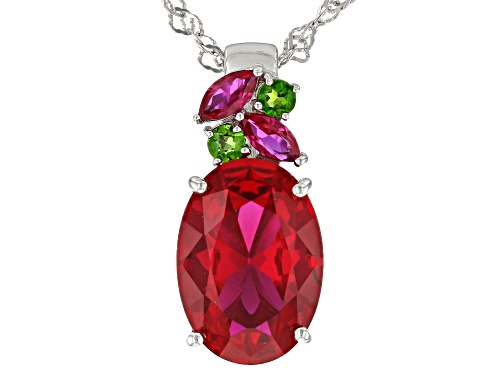 Photo of 5.76ctw Lab Created Ruby with .12ctw Russian Chrome Diopside Rhodium Over Silver Slide with Chain