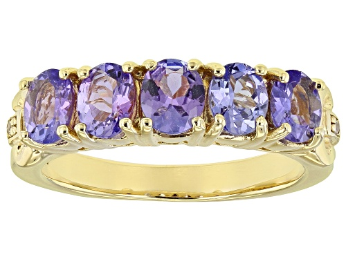 Photo of 1.50CTW OVAL TANZANITE WITH .01CTW ROUND WHITE ZIRCON 18K YELLOW GOLD OVER SILVER RING - Size 8