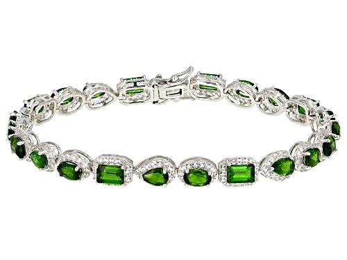 Photo of 8.97ctw Mixed Shape Chrome Diopside & 2.50ctw Topaz Rhodium Over Sterling Silver Bracelet - Size 8
