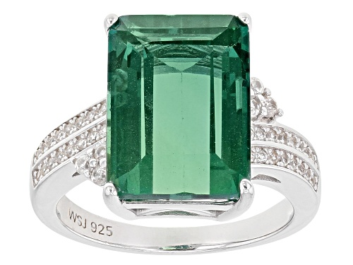 Photo of 8.20ct Emerald Cut Teal Fluorite with .28ctw Round White Zircon Rhodium Over Silver Bypass Ring - Size 8