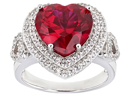 Photo of 6.30ct Heart Shape Lab Created Ruby & 1.08ctw Zircon Rhodium Over Sterling Silver Ring - Size 7