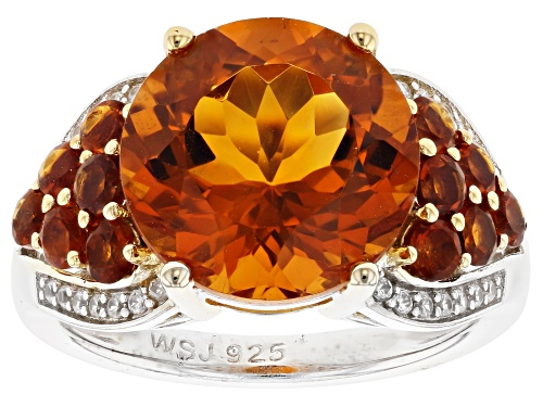 Photo of 5.28ctw Round Madeira Citrine with .11ctw Round White Zircon Rhodium Over Sterling Silver Ring - Size 7