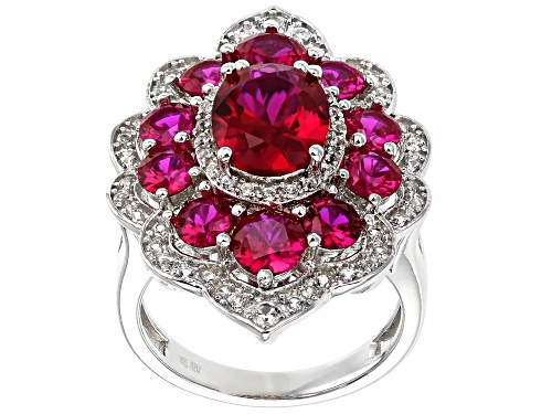 Photo of 5.33ctw Lab Created Ruby with .68ctw Lab Created White Sapphire Rhodium Over Sterling Silver Ring - Size 7