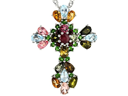 Photo of 4.15ctw Multi-Color Gemstone Rhodium Over Silver Cross Pendant With Chain