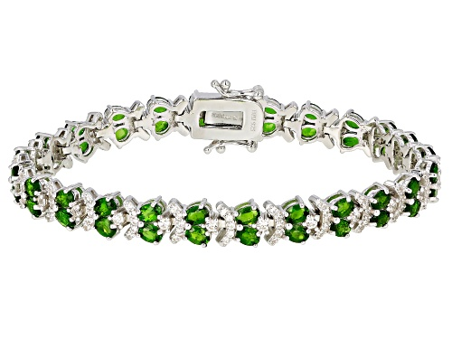 Photo of 8.40CTW OVAL CHROME DIOPSIDE WITH 2.29CTW WHITE ZIRCON RHODIUM OVER STERLING SILVER BRACELET - Size 7.25
