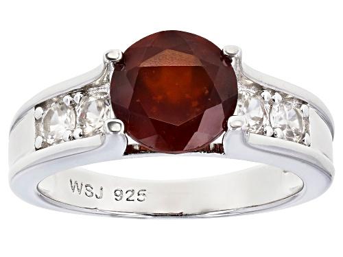Photo of 1.70ct Round Hessonite Garnet With .57ctw Round White Zircon Rhodium Over Silver Ring - Size 8