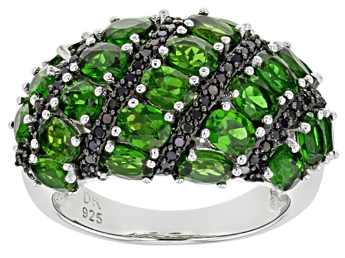 Photo of 4.25ctw Oval Chrome Diopside and .26ctw Round Black Spinel Rhodium Over Sterling Silver Ring - Size 8