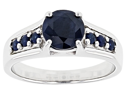 Photo of 1.59ctw Round Blue Sapphire Rhodium Over Sterling Silver Ring - Size 8