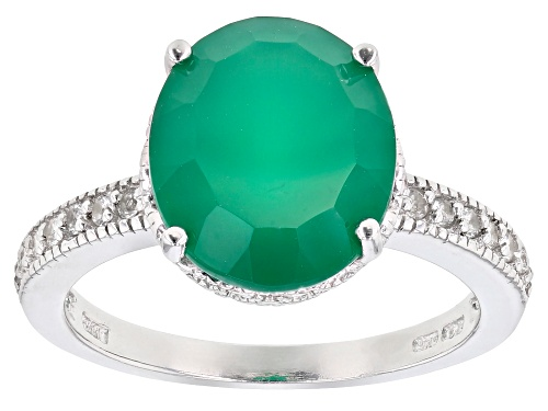 Photo of 3.75ct oval green agate with .14ctw round white topaz rhodium over sterling silver ring. - Size 7