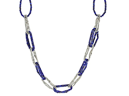 Photo of Rondelle Lapis Lazuli with Labradorite Rhodium Over Sterling Silver 2-Strand Link Design Necklace - Size 20