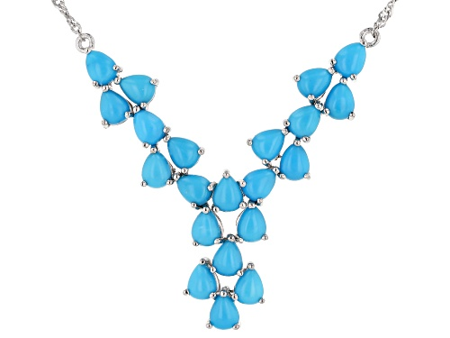Photo of 5x4mm Pear Shape Cabochon Sleeping Beauty Turquoise Rhodium Over Sterling Silver Bib Necklace - Size 18