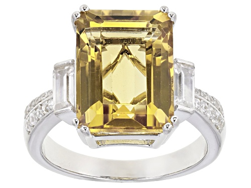 Photo of 5.40ct Emerald Cut Citrine With .73ctw Baguette and Round White Zircon Rhodium Over Silver Ring - Size 6