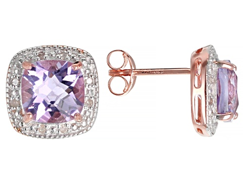 Photo of 2.22ctw Lavender Brazilian Amethyst & .08ctw White Diamond Accent 18k Rose Gold Over Silver Earrings