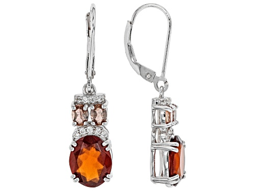 Photo of 5.03ctw Hessonite with .15ctw White Zircon & .58ctw Garnet Accent Rhodium Over Silver Earrings