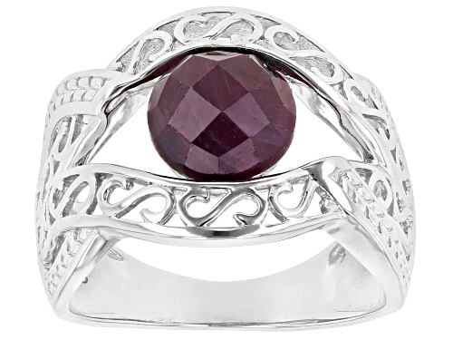 Photo of 2.04ct Round Indian Ruby Rhodium Over Sterling Silver Solitaire Ring - Size 7