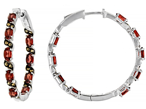 Photo of 4.43ctw OVAL VERMELHO GARNET(TM) WITH MARCARSITE RHODIUM OVER SILVER HOOP INSIDE/OUTSIDE EARRINGS
