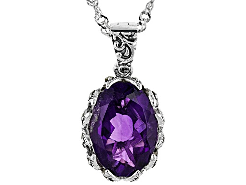 Photo of 4.89CT OVAL AFRICAN AMETHYST WITH MARCASITE RHODIUM OVER STERLING SILVER ENHANCER WITH CHAIN