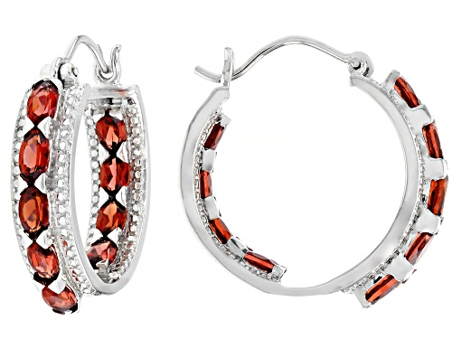 Photo of 4.00ctw oval red garnet rhodium over sterling silver inside/outside hoop earrings