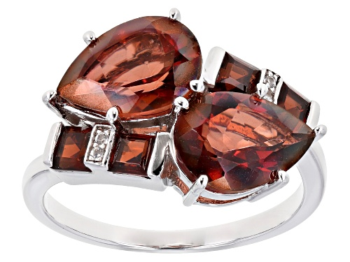 Photo of 3.45ctw Pear Shape Red Labradorite, Vermelho Garnet(TM) & White Zircon Rhodium Over Silver Ring - Size 8
