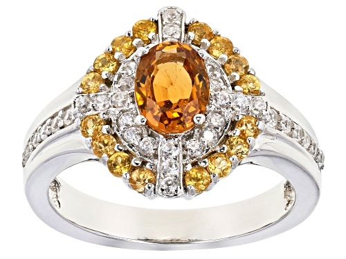 Photo of 1.45ctw Oval & Round Mandarin garnet With .52ctw Round Zircon Rhodium Over Silver Ring - Size 8