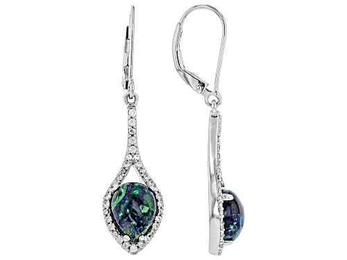 Photo of 9x7mm Pear Shape Azurmalachite and .31ctw Round White Zircon Rhodium Over Silver Dangle Earrings